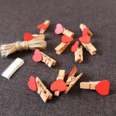 Mini Heart Clothespins Kit