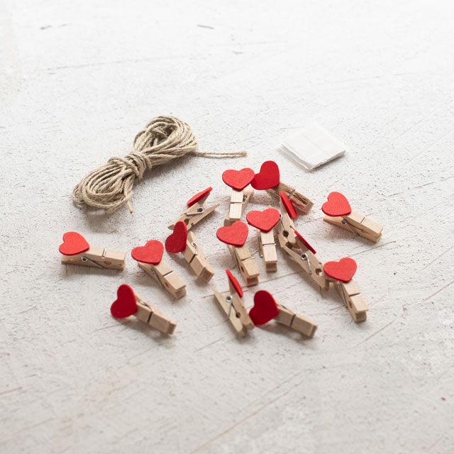 Mini Heart Clothespins Kit