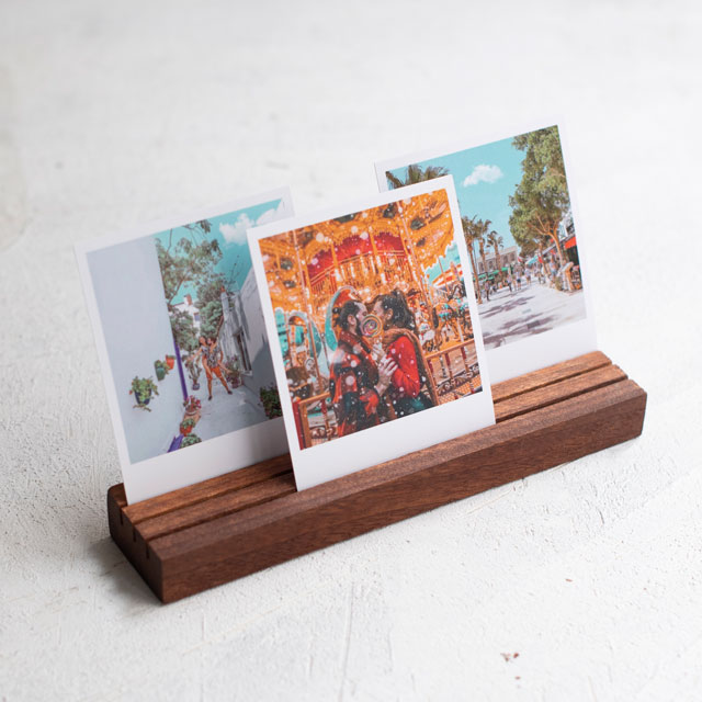 Wooden Triple Photo Holder