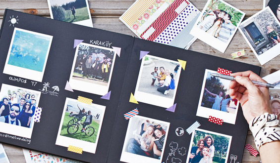 Big Photo Scrapbook with Retro Print - 35 Pcs.