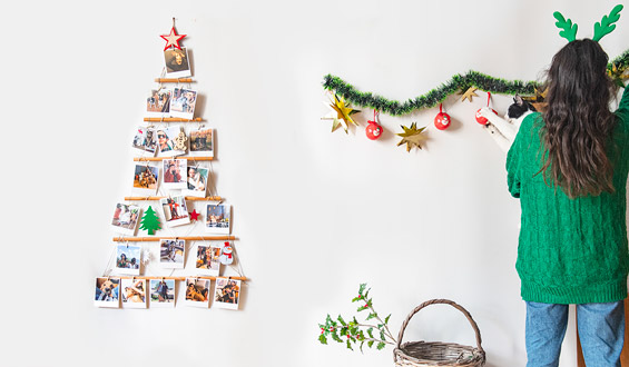 Wooden Christmas Tree with Photos