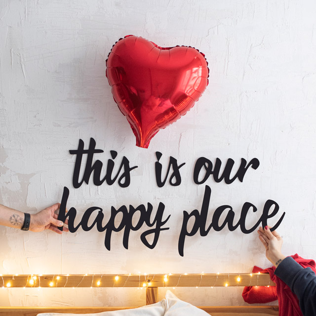 This is Our Happy Place Ahşap Duvar Yazısı