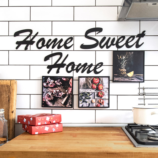 Home Sweet Home Ahşap Duvar Yazısı