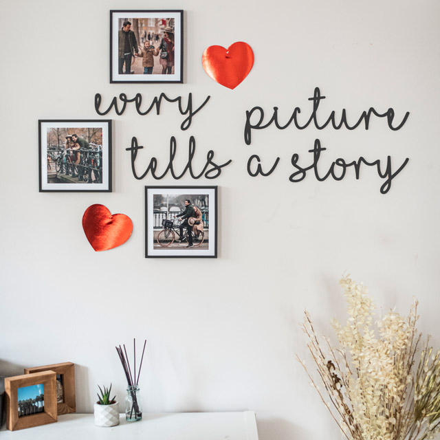 Every Picture Tells a Story Wooden Words Decor