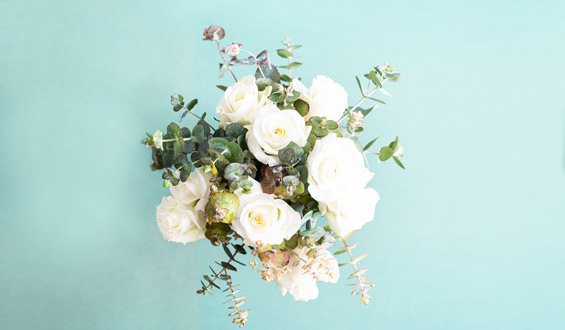 White Rose and Eucalyptus Flower Bouquet