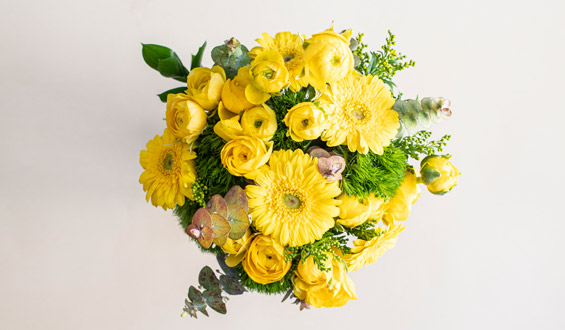 Yellow Peony and Gerbera Flower Bouquet