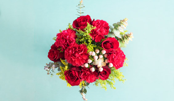Red Velvet - Red Roses and Carnations Bouquet