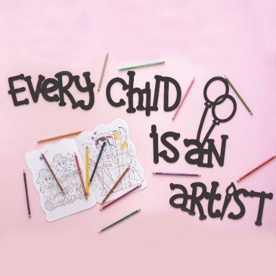 Every Child is an Artist Ahşap Duvar Yazısı - Siyah