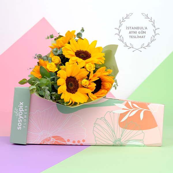Sunflower and Spray Rose Bouquet