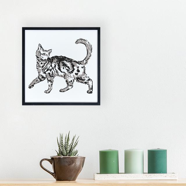 Art - Kedi 2 20x20 Yapışan Çerçeve