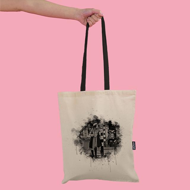 Kara Kalem Tasarımlı Bez Çanta