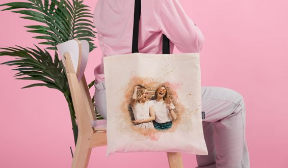 Sulu Boya Tasarımlı Bez Çanta