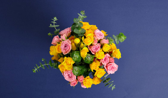 Pink Yellow Arbor Rose Bouquet with Eucalyptus