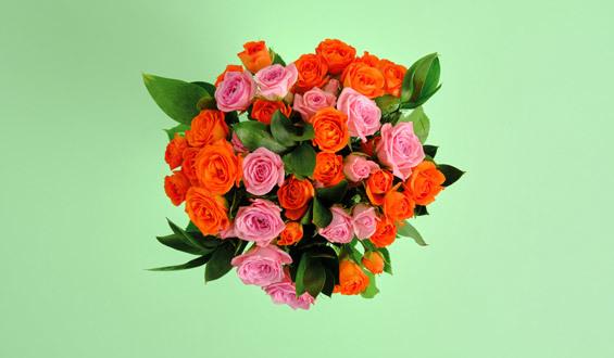 Pink and Orange Arbor Rose Bouquet