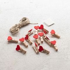 Mini Heart Clothespins Kit - 15 Pcs.
